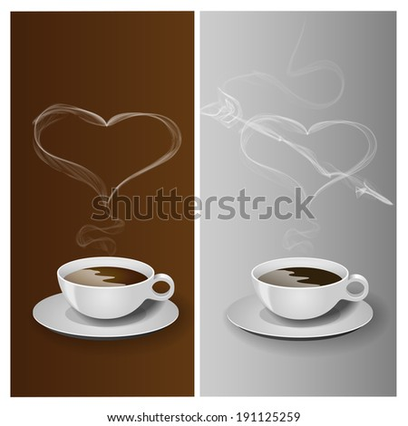 Coffee cup with realistic smoke heart, vector illustration - stock vector