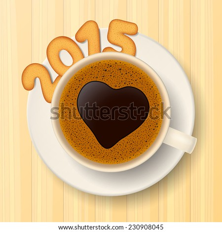 Coffee cup with saucer and cookies in form of numbers, form together the number 2015, on wooden background - stock vector