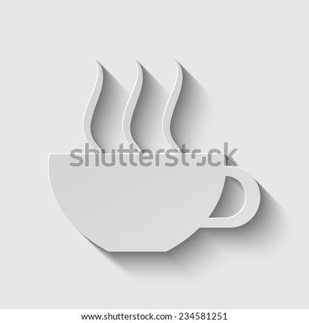coffee cup with shadow on a grey background