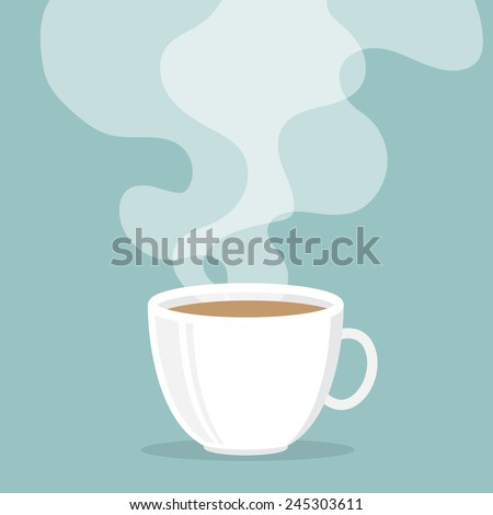Coffee cup with smoke float up - stock vector