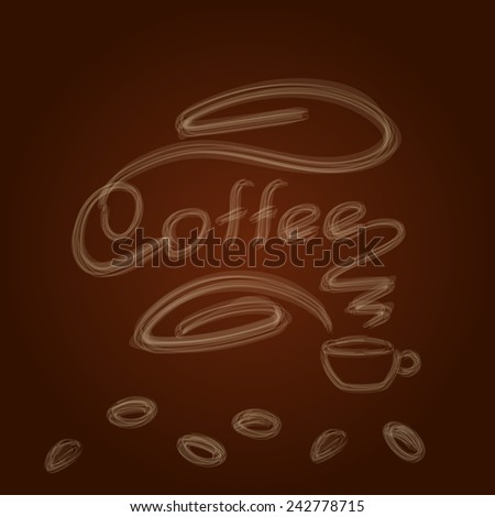 coffee cup with smoke on the brown background