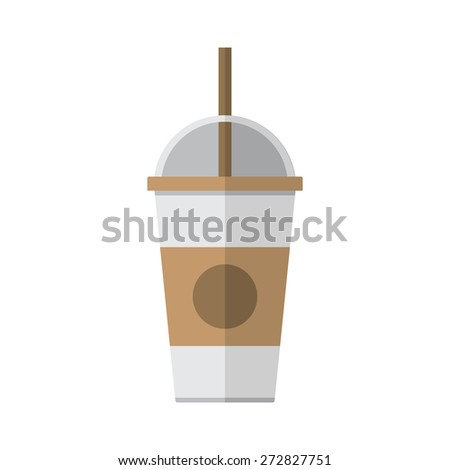 Coffee cup with straw on white background vector illustration