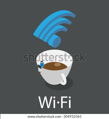 Coffee cup with WiFi symbol, little man sitting on the cup, holding laptop and surfing in the Internet, vector illustration - stock vector