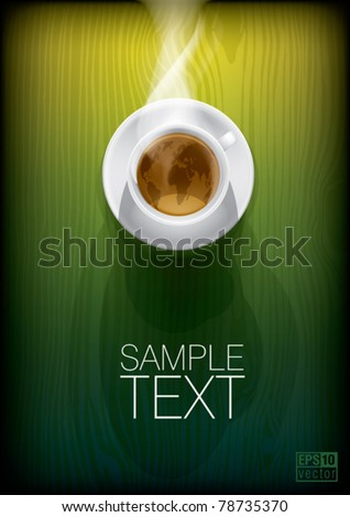 Coffee cup with world map on green background, top view. Eps10 vector - stock vector