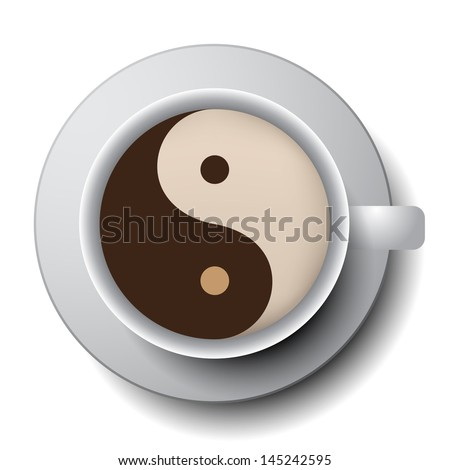 Coffee Cup with Yin-Yang Symbol - stock vector
