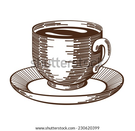 Coffee cup woodcut. Isolated cup and saucer ink drawing etching imitation. Contrast gravure. Design element. Isolated on white background. Vector file is EPS8. - stock vector