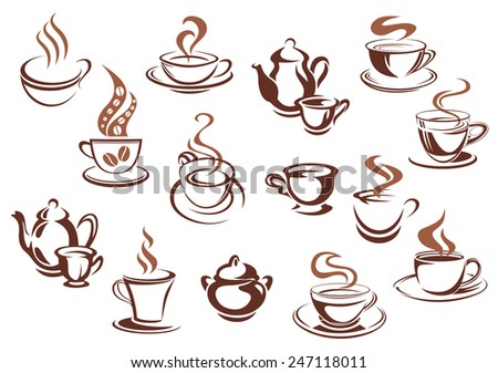 Coffee cups and pots in sketch style and brown colors with swirls of steam and coffee beans for cafe menu or coffee shop advertising design - stock vector