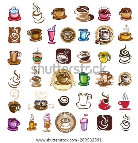 Coffee cups - design elements for coffee emblem, vector illustration. - stock vector