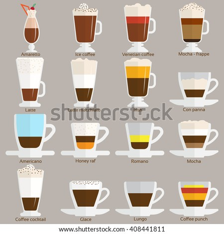 Coffee cups different cafe drinks types espresso mug with foam beverage breakfast morning sign vector. Coffee cups breakfast and morning coffee cups. Coffee cups with foam, different foam coffee. - stock vector