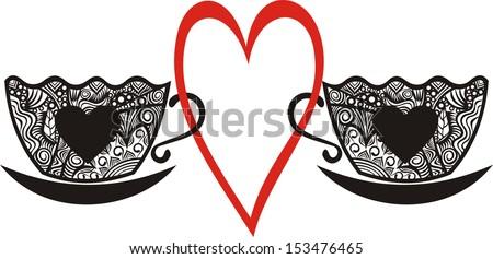 Coffee cups heart vector illustration - stock vector