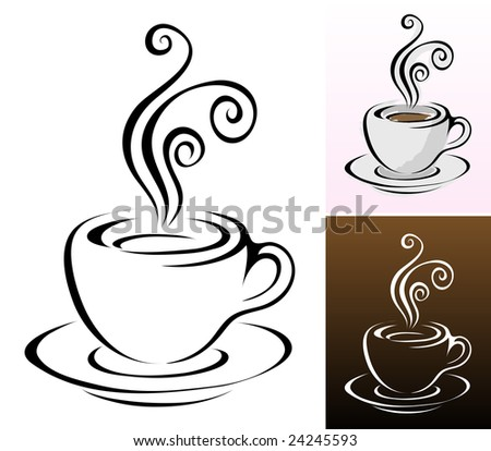 coffee cups icons in different colours & styles - stock vector