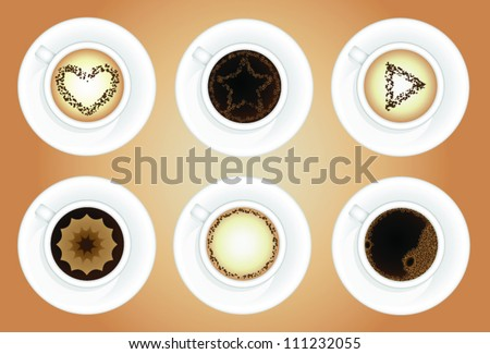 Coffee cups. Latte art. Vector illustration