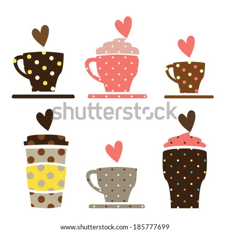 coffee cups vector - stock vector