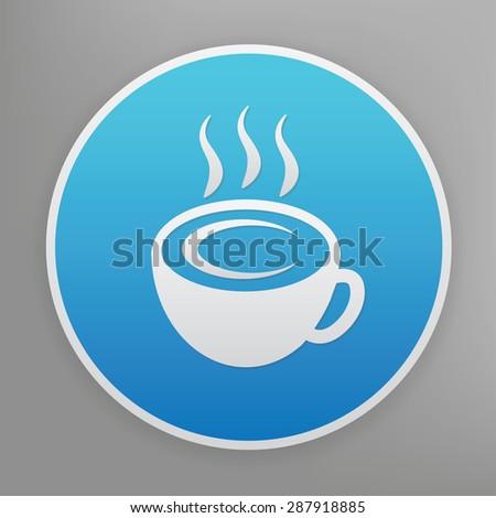 Coffee design icon on blue button,clean vector - stock vector