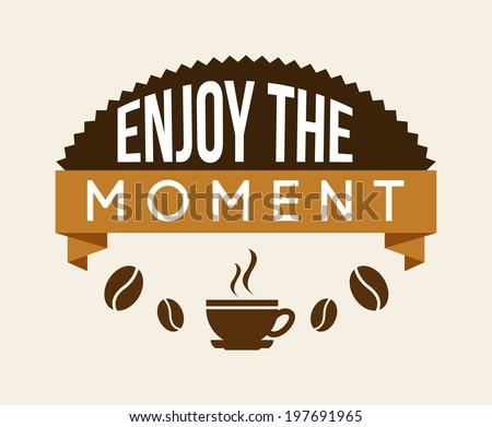 Coffee design over beige background, vector illustration - stock vector