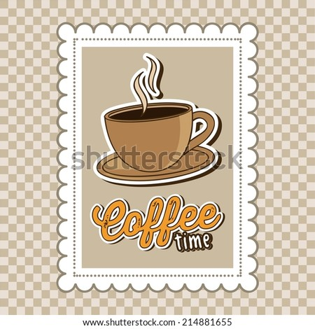 coffee design over  pattern background vector illustration - stock vector