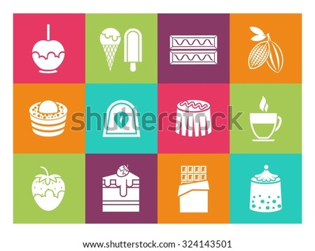 Coffee, desserts and chocolate icons for cafe and confectionery. Tasty muffin,  ice cream and pie, vector illustration - stock vector