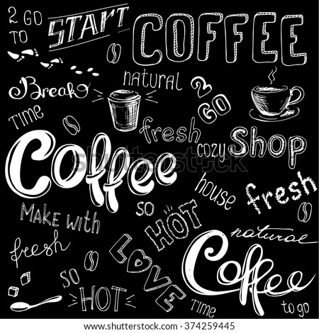 Coffee doodle background, hand drawn on black,vector illustration - stock vector