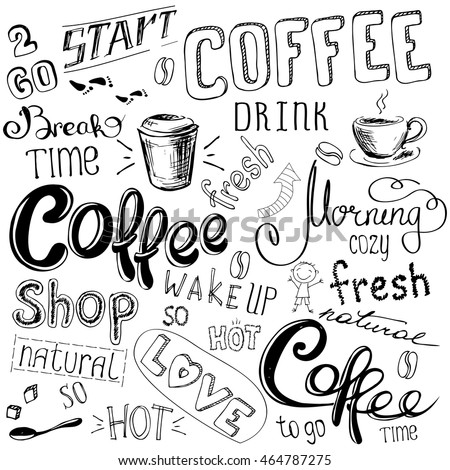 Coffee doodle background, hand drawn on white background, stock vector illustration.