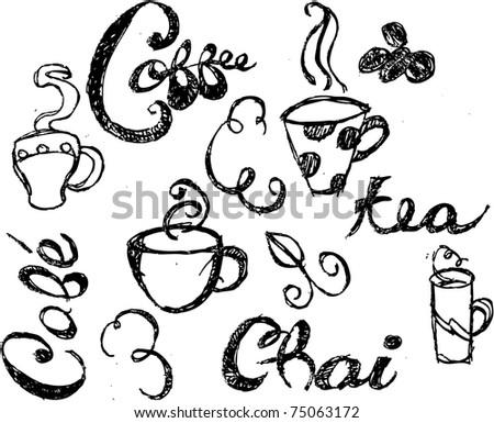Coffee Doodles - stock vector