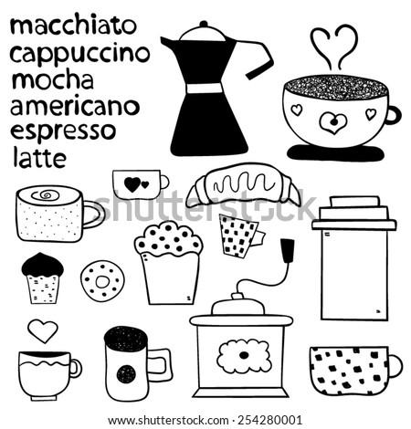 Coffee Doodles design - stock vector