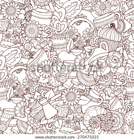 Coffee Doodles Sketch. Coffee And Tea Design Template Grunge Background. Hand-Drawn Vector Illustration. Coffee, Breakfast, Tea, Invite, Love Seamless Pattern. - stock vector