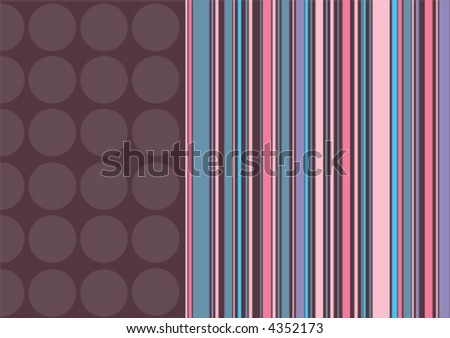 coffee dots and pink stripes (vector) - illustrated background with copy space - stock vector