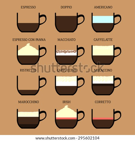 Coffee Drink Set Espresso Doppio Americano Stock Vector