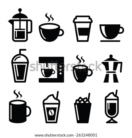 Coffee drinks, coffee makers icons set  - stock vector