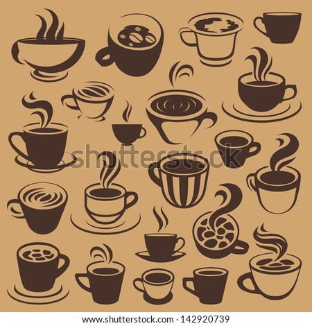 coffee elements or logos - stock vector