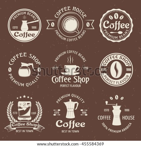 Coffee emblem set in color with coffee house premium quality and perfect flavor descriptions vector illustration - stock vector