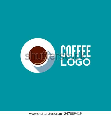 Coffee flat logo - stock vector