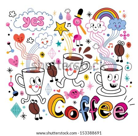 Coffee fun cartoon illustration - stock vector