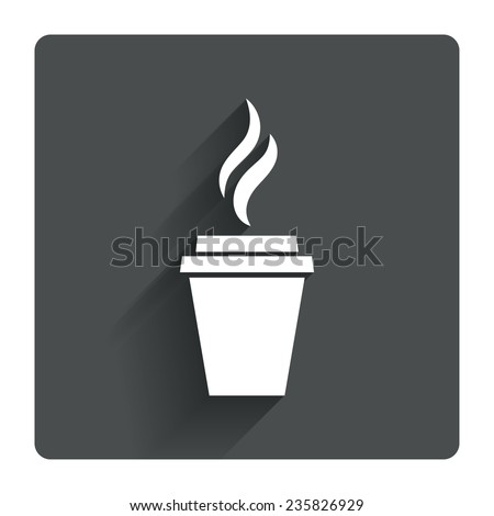 Coffee glass sign icon. Hot coffee button. Hot tea drink with steam. Takeaway. Gray flat square button with shadow. Modern UI website navigation. Vector - stock vector