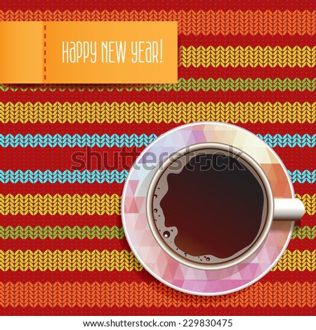 Coffee. Good Morning. Realistic white cup of coffee. Happy New Year. Cup Ã?Â??offee on seamless pattern knitted textured background. Vector illustration 10 EPS  - stock vector