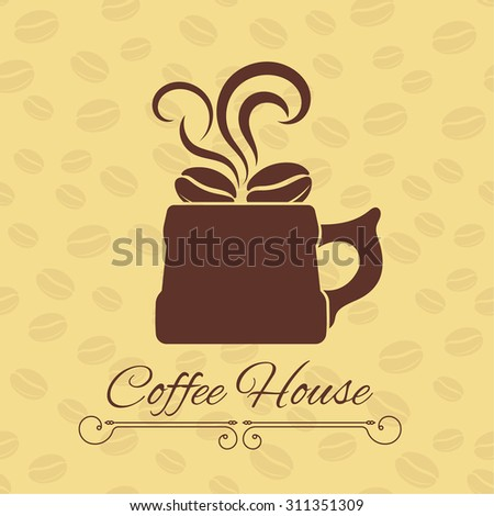 Coffee house concept. Coffee cup with grains on a gentle background with coffee beans and divider. Vector element of graphical design - stock vector