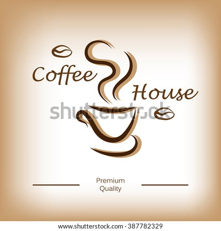 Coffee house logo, label, icon or badge design. Cup of coffee or tea. Vector illustration - stock vector