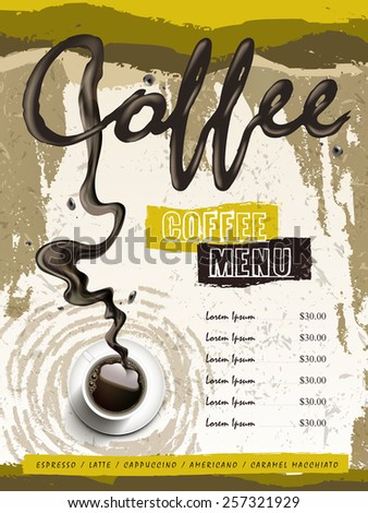 coffee house menu design with top view coffee over modern background - stock vector