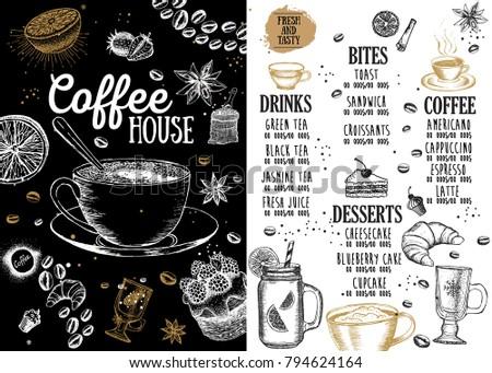 Coffee House Menu Restaurant Cafe Template Design Food Flyer