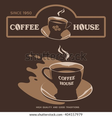 Coffee House vector design with cup and saucer - stock vector