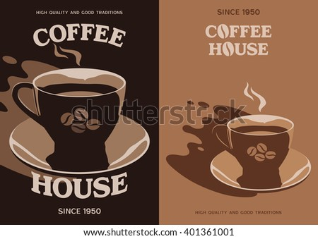 Coffee House vector poster banner flyer brochure cover design with cup and saucer - stock vector