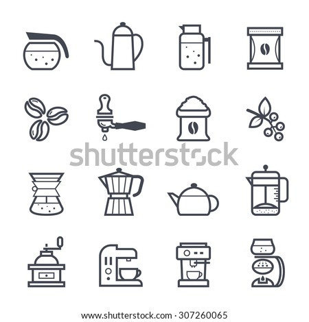 Coffee Icon Bold Stroke on White Background - stock vector