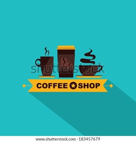 Coffee icon menu. Flat design. Vector for menu, coffee shop, restaurant. - stock vector