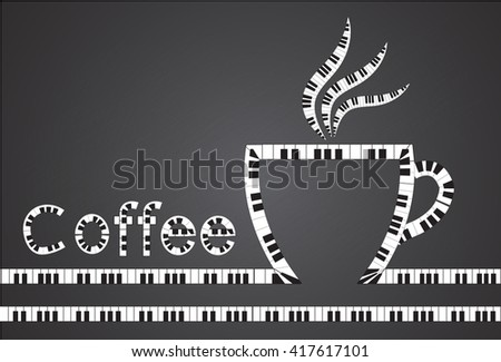 coffee icon on the piano - stock vector