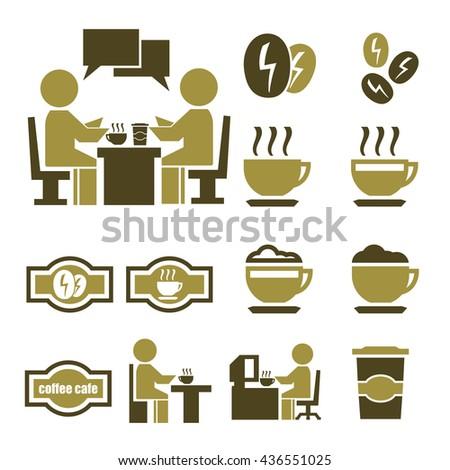 coffee icon set - stock vector
