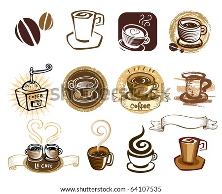 Coffee icon set. Elements for design. Vector illustration. - stock vector