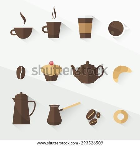 coffee icon set flat design - stock vector