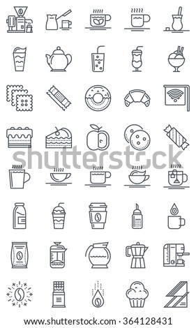 Coffee icon set suitable for info graphics, websites and print media. Black and white flat line, vector icons. - stock vector