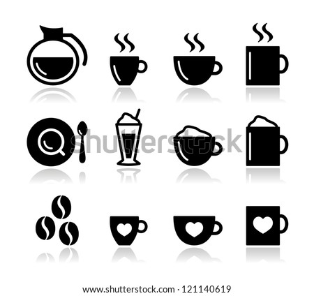Coffee icon set - vector - stock vector
