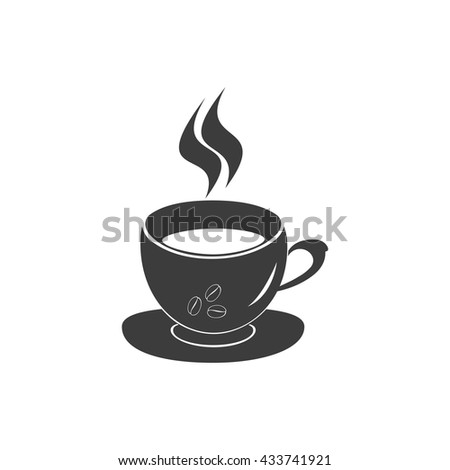 Coffee icon Vector. Flat icon Coffee. Flat vector illustration for web banner, web and mobile. Vector Coffee icon graphic. Vector icon isolated on white background. Coffee vector icon in black.  - stock vector